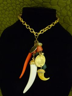 Early Kenneth Jay Lane Necklace HORNS & GOOD LUCK CHARMS