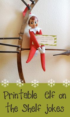 Free printable Elf on the Shelf joke cards.