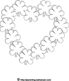 Irish romance, #shamrock heart #coloring page