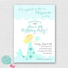 Mermaid Party printable birthday invitation