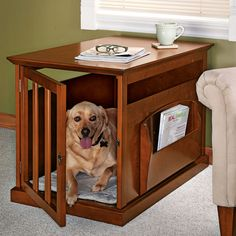 Dog crate end table. So neat if you have a dog