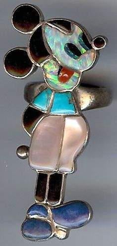 Large Signed Vintage Zuni Indian Sterling Inlaid Multi Stone Mickey Mouse Ring | eBay