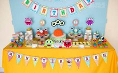 Colorful Monster 2nd Birthday Party  by Kara's party ideas Monster Parti, Monster Party, 1St Birthday Boy Monster, Birthday Parties, Theme Parties, Birthday Monster, 2Nd Birthday, Little Monsters, Parti Idea