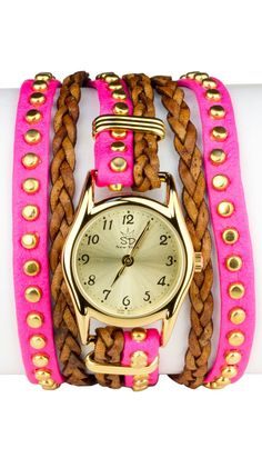 Studded Leather Wrap Watch.
