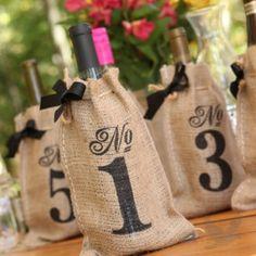 Burlap Table Number Wine Bags
