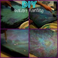 DIY galaxy painting using acrylic paints.