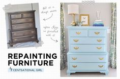 Great tips on painting furniture and other project ideas...have a few pieces I may attempt this on! repaint furnitur, paint furniture, repainting furniture, old furniture, painted furniture, old dressers, helpful tips, project ideas, painting tutorials
