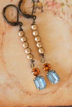Lauren.light sapphire,topaz ,crystal drop earrings. Tiedupmemories