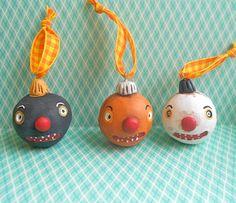 Orange Halloween Jack O Lantern Ornament by indigotwin on Etsy, $10.00