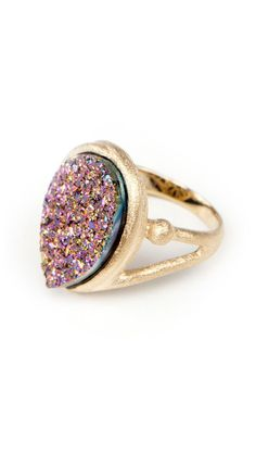 Drop Shape #Ring #gold #druzy $88  https://www.luxeyard.com/womens/invitation/customer_account/create/invitation/ODczMTU6MDkxMmQ1NjFmM2ExOWRjMWMzZjY0MDY4ODk5NWQ0NDc,/