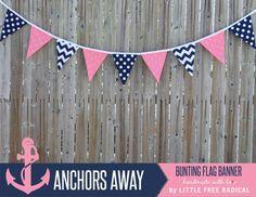 Anchors Away Pink Navy Chevron & Polkadot by LittleFreeRadical