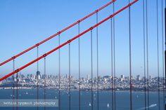Skyline of San Francisco as seen through the Golden Gate Bridge, California, USA