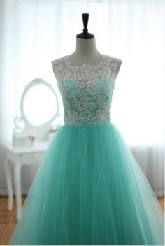 Lace Tulle Wedding Dress Prom Ball Gown Blue Tulle Dress Turquoise Sweetheart Dress. $295.00, via Etsy.
