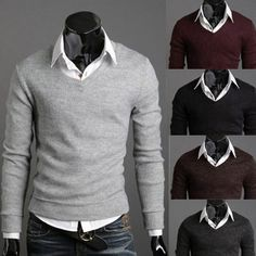 Solid Color V Neck Slim Fit Knit Sweater | Sneak Outfitters