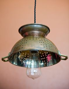 Colander Light - Pendant - Copper - Edison Style Bulb - Antique Cloth Twisted Wire. $85.00, via Etsy.