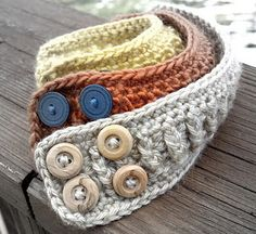 Hand crocheted cuff bracelets