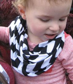 Baby Toddler Child Black and White Chevron Stripe Infinity Scarf Photo Prop by ChevronScarf
