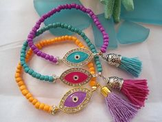 SALE GYPSY EVIL Eye Bracelets  Ethnic  Evil Eye  by Nezihe1, $13.99
