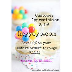 We love our customers! 20% off your entire order!!