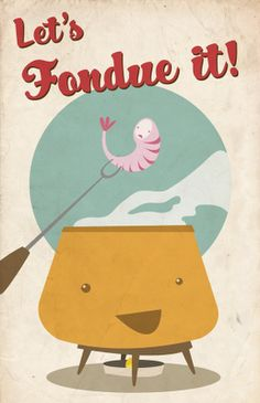 great art for fondue party invite