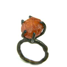 Raw Spessartite Garnet Dark Silver Ring - Feuerbaum. via Etsy.