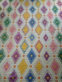Antique Vintage Quilt Grandmother'S Flower Garden BUT AS Diamonds | eBay