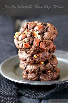 Double Chocolate Pecan Chip Cookies with peanut butter, dark chocolate chips, and pecans!