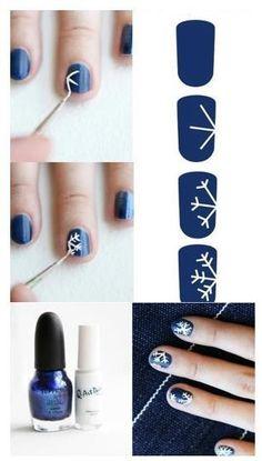 Snowflake nails :) so cute!