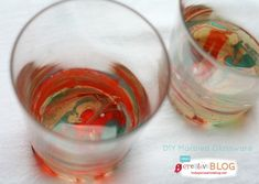 DIY Marbled Glassware Using Nail Polish - Todays Creative Blog