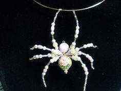 Pink Rose Pearl Spider Pendant