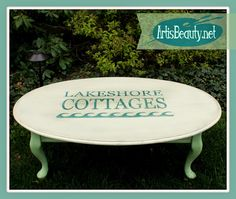 "ART IS BEAUTY: Big lots coffee table, turned LAKESHORE COTTAGE coffee table Check out the latest coffee table makeover. I created a Vintage Inspired ""lake shore cottages"" graphic for the top using my +Silhouette America  Come see the BEFORE. http://arttisbeauty.blogspot.com/2014/07/big-lots-coffee-table-turned-lakeshore.html #furnituremakeover #hometalktuesday #homedecor #lakeshore #cottage   #coastal #diy #paintedfurniture #artisbeauty"