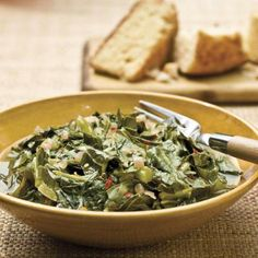 Collards With Red Onions | Dried, crushed red pepper flakes and a touch of brown sugar add a spark of sweet heat to these tasty greens. | SouthernLiving.com