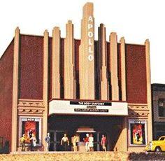Movie Theatre-Art Deco - HO-Scale (slt1536) Scale-Structures HO Scale Model Railroad Buildings