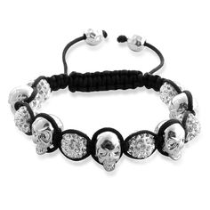 Liquidation Channel | White Austrian Crystal and Metallic Skull #Tranquility Bracelet