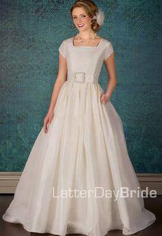 Modest Wedding Dress, Lauretta   LatterDayBride & Prom. Modest Mormon LDS Temple Dress