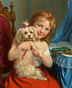 Fritz Zuber-Buhler (1822-1896) Young Girl with Bichon Frise