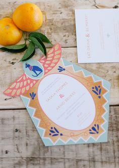 wedding invites with a whimsical twist, photo by Debbie Lourens http://ruffledblog.com/nile-inspired-wedding-ideas #weddinginvitations #invitations