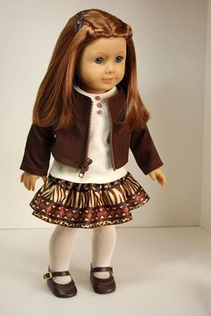 American Girl Doll ClothesJacket Ruffled Skirt by sewurbandesigns, $32.00