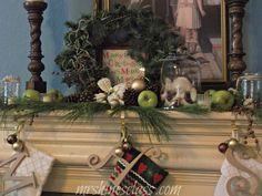 mantel, stockings, wreath, cloche, garland, christmas decorating ideas