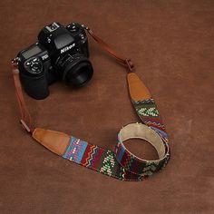 DSLR Leather Camera Strap - Nikon Camera Strap - Canon Camera Strap - Cotton Fabric Bohemian Utility Camera Strap