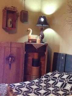 Old wooden swan decoy in my primitive bedroom. By ye olde crow primitives