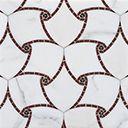 Ann Sacks Natural Stone Mosaic hillier petite in rosso laguna, nero marquina and calacatta oro