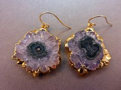 Stalacite Amethyst Round Slice Druzzy Druzy Drusy Crystal Earrings with 24k gold edging Gold Fill Earwires