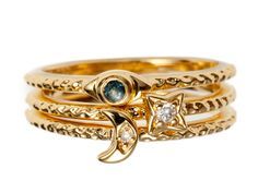 Moon Evil Eye and Star Stack Rings