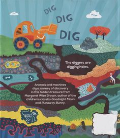Back cover for The Diggers by Margaret Wise Brown. Illustrated by Antoine Corbineau