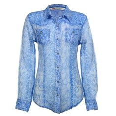 Cumberland Outfitters Women's Sheer Snake Print Blouse
