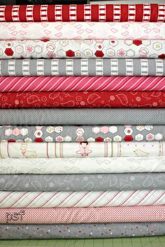 Sew stitchy Fat quarter bundle, Redwork and Needle, 14 total.