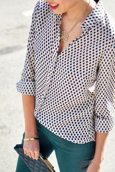 Teal jeans + polka dots