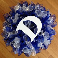 Duke University Wreath with lights by PlayfulCustomWreaths on Etsy, $75.00