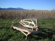 stick, bench, log cabins